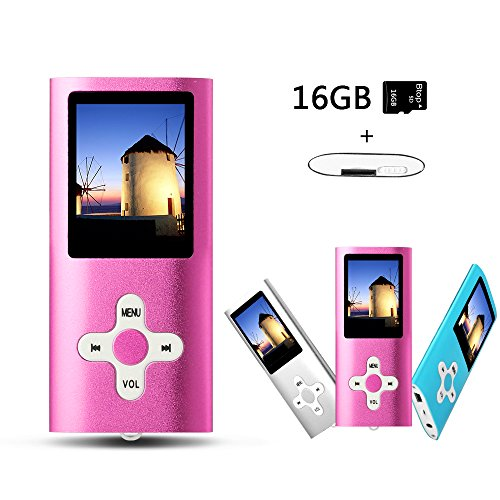 Btopllc MP3 / MP4 Player MP3 Music Player Portable 1.7 inch LCD MP3 / MP4 Player Media Player 16GB Card Reader with Mini USB Port USB Cable / Hi-Fi MP3 Music Player Voice Recorder Media Player - Pink