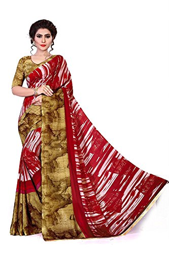 TexStile Women Georgette Red And Beige Colour Saree With Bloues Piece_ SE_RN-010_Saree