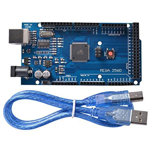 XCSOURCE® Mega 2560 R3 + USB-Kabel / Mega 2560 R3 Atmega2560 16AU Modulplatine 2012 Ausführung für Arduino TE629 (54 X 16 Hals)