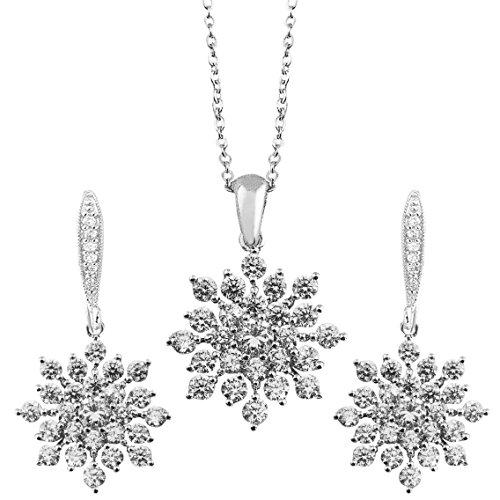Schönes Silber Ton Swarovski Element Kristall Schmuckset Schneeflocken Design Weißgold Vergoldet Halskette mit Anhänger und Ohrringen inkl. Geschenkbox