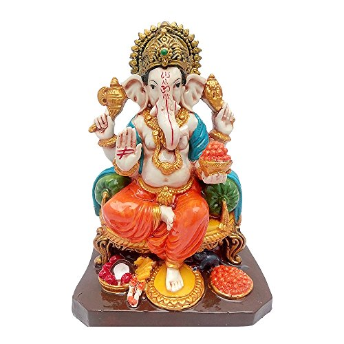 Multicolour Hindu God Shri Ganesh statue lord Ganesha idol Bhagwan Ganpati Handicraft Decorative Spiritual Puja vastu showpiece Figurine - Religious Pooja Gift item & Murti for Mandir / Temple / Home Decor / Office ( H-18 CM )