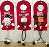 UChic 3Pcs Christmas Tree Decor Ornaments Xmas Home Door Decoration Santa Claus Snowman Reindeer For Wall and Door Ornament Christmas Gifts