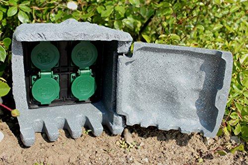 Außensteckdose Stein 5m Kabel Steckdose 4-fach Gartensteckdose Steinsteckdose