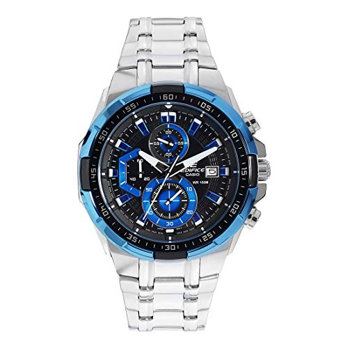 Casio Edifice Herrenarmbanduhr EFR-539D-1A2VUEF, blau schwarz, massives Edelstahlgehäuse und Armband, 10 BAR