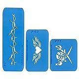 Best of Nr. 3: Set mit 3 Airbrush-Schablonen: Stacheldraht-Armband, Herz mit Flügeln, Pirat.. Wiederverwendbare Schablonen für Airbrush-Tattoos und vieles mehr. bo003