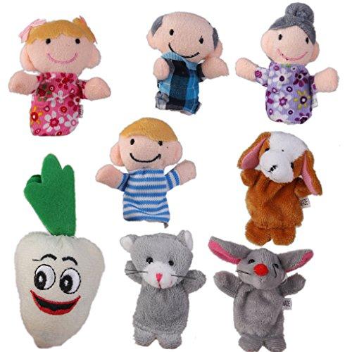 Generic 8pcs Niedlichen Plüsch Fingerpuppen für Kinder Speilzeug Geschenk Mädchen granny Junge grandfather dog mice carrot und bear -