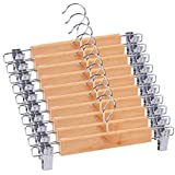 Ganpati Hangers Eco Friendly 10-Pack Natural Finish Wooden Pant Skirt Hangers with 2-Adjustable Anti-Rust Clips