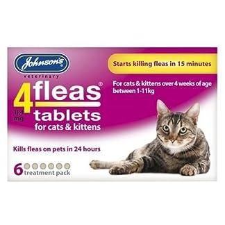 (6 Pack) Johnsons Vet - 4 Fleas Cat Flea Tablets - 6 Tab (6 Pack) Johnsons Vet – 4 Fleas Cat Flea Tablets – 6 Tab 51rWavW1YAL