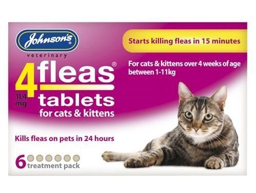 (2 Pack) Johnsons Vet - 4 Fleas Cat Flea Tablets - 6 Tab 1
