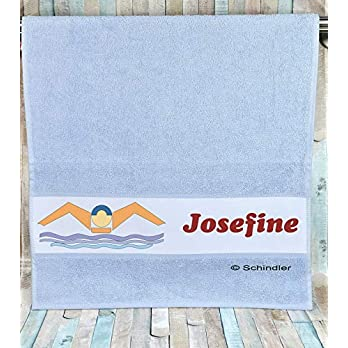 """bedruckte Frottiere Handtücher oder Dusch/Badetücher – Motiv""""Schwimmen"""" mit Ihrem Wunschnamen in 13 Farben zur Auswahl und 2 Größen"""