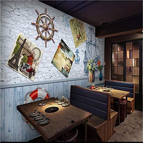 Segeln Mittelmeer Rudder Swim Ring Europäischen Stil 3D Hintergrund Angepasst Große Wandbild Tapete Wandbild-350Cmx245Cm