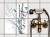 creatisto Fliesen-Aufkleber | Deko-Dekorsticker Badfliesen Küchen-Folie Wanddeko | 15x20 cm Design Motiv Bamboo 1-4 Stück