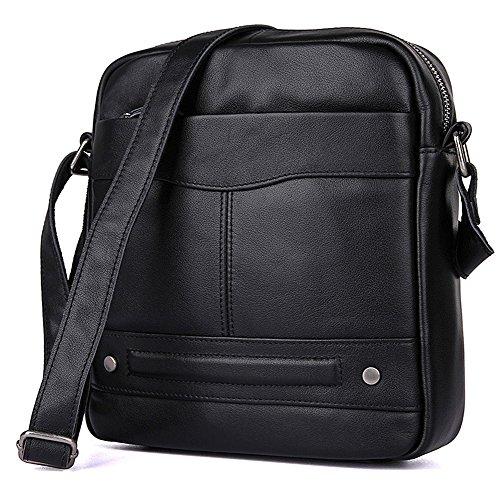 fe12d874e5c0e Everdoss Herren Schultertasche Umhängetasche echt Leder Cross Body  Messenger Bag Vintage Business Freizeit Schwarz