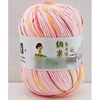 HuaYang Couleur mélangé fil à tricoter laine cosy fil de laine pour tricoter à la main(1Pcs: Rose mélangé)