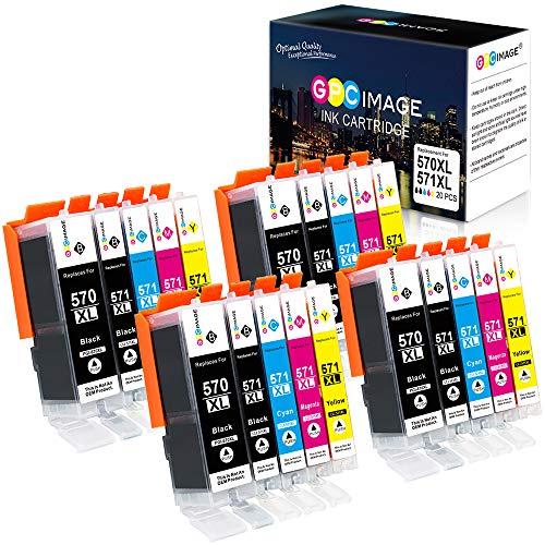 GPC Image PGI-570XL CLI-571XL Cartucce d'inchiostro Compatibile per Canon 570 XL 571 XL per Pixma MG5750 TS5050 MG5751 MG6850 TS5051 TS6050 (4 PGBK,4 Nero,4 Ciano,4 Magenta,4 Giallo)
