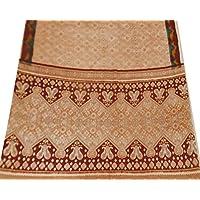 tessuto di seta annata sari arte floreale tenda stampata telo usato arte beige materiale artigianale 5YD cucire casa arredamento - Arte Seta Tende