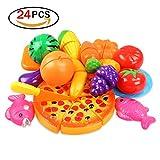 Giocattolo da Cucina Taglia Frutta Verdure Kit Giocattolo Simulato per Bambino Istruzione Prescolare (24 set)