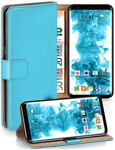 moex Booklet mit Flip Funktion [360 Grad Voll-Schutz] für Samsung Galaxy S8 | Geldfach und Kartenfach + Stand-Funktion und Magnet-Verschluss, Türkis