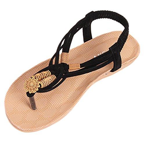 HENGSONG Femmes Plat Avec Sandales Bohemian Perles Sandales de Plage Sandales à Bout Ouvert Noir