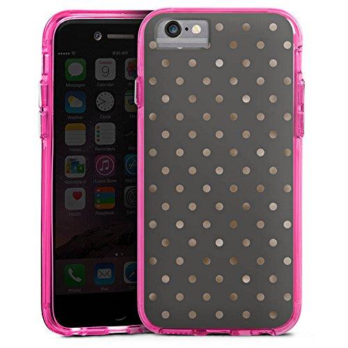Apple iPhone 6s Bumper Hülle Bumper Case Glitzer Hülle Punkte Pattern Muster Bumper Case transparent pink