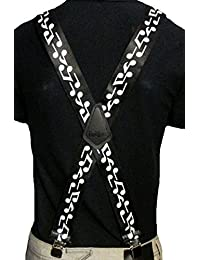 """Musical Notes Biker Scooter Rock Goth Trades Mens Heavy Duty 2"""" Wide Braces"""