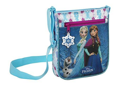 Eiskönigin Anna und Elsa, Handtasche Schultertasche (S431), blau/weiß, 25 x 21 x 4,5 cm (Disney Tragetasche)