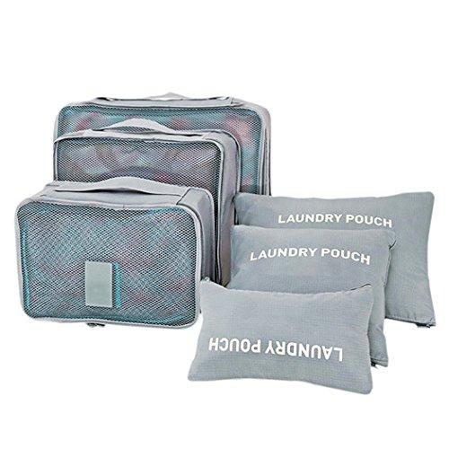 Shopper Joy Koffer Organizer Kofferorganizer für Reise Gepäck Kleidertaschen Packtaschen 6-teiliges Set - Grau