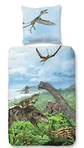 Aminata Kids – Bettwäsche 135x200 cm Kinder Jungen Dino Dinosaurier Baumwolle Reißverschluss |inkl Gratis E-Book| bunte Kinderbettwäsche Urzeittiere Tiere 2-teiliges Bettwäscheset Bettbezug Ganzjahr