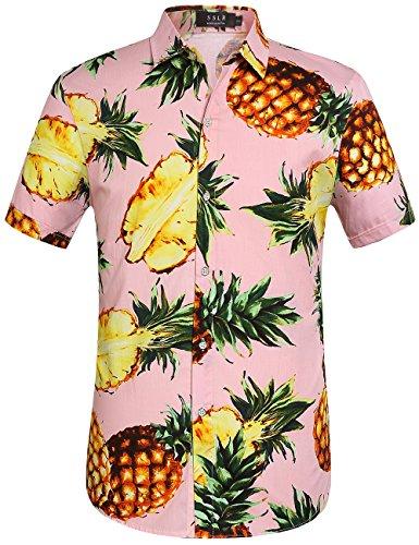 SSLR Herren Hawaiihemd Kurzarm Baumwolle Hemd Ananas gedruckt Aloha Shirt für Strand Freizeit Reise (Medium, Rosa)