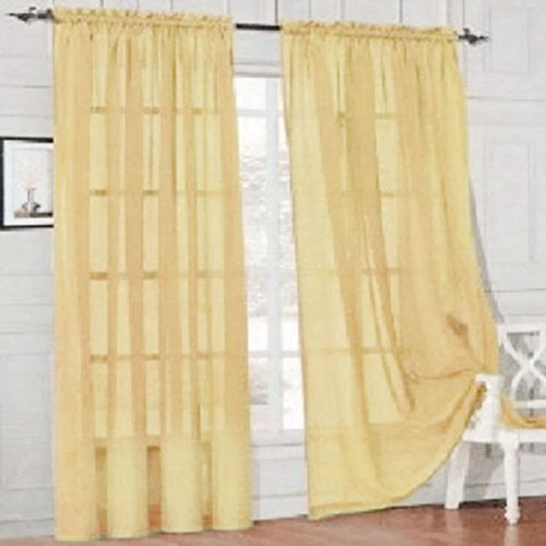 Display08 colore puro vetro filato sheer finestra tenda mantovana casa camera da letto wedding decor – 100 cm x 200 cm (su asta) (giallo)