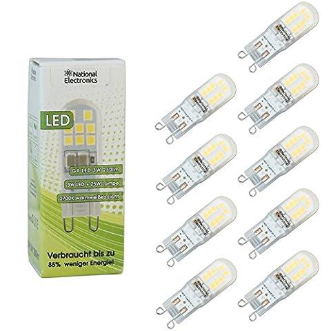9x National Electronics® Slim Leuchtmittel | G9 3W 250 Lumen LED | Stiftsockellampe AC 230V 270° Lampe warmweiß