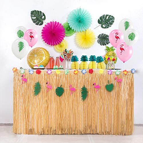 SUNBEAUTY Tischröcke Hawaiian Party Deko Tropische Blumen Seidenblumen Tisch Rock Mottoparty Dekoration (Blond)