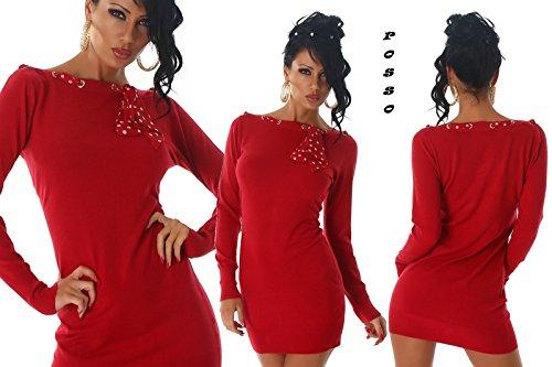 abito/maglione lungo con foulard pois scollo a barchetta 5 colori tg S/M,L/XL Rosso