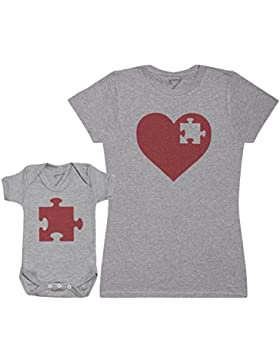 Zarlivia Clothing Heart and Puzzle Piece - Passende Mutter Baby Geschenk Set - Damen T-Shirt & Baby Strampler