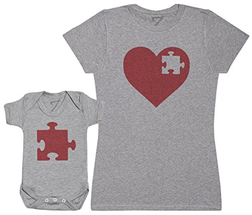 (Heart and Puzzle Piece - Passende Mutter Baby Geschenk Set - Damen T-Shirt & Baby Strampler - Grau - S & 74 (6-12 Monate))