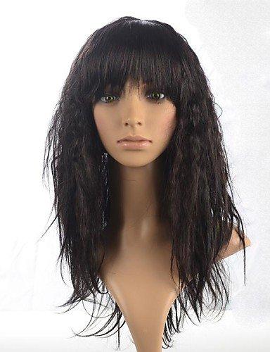 Mode Perücken europäisches Haar geschweiften lange Haare Perücke volle Bang Capless ()
