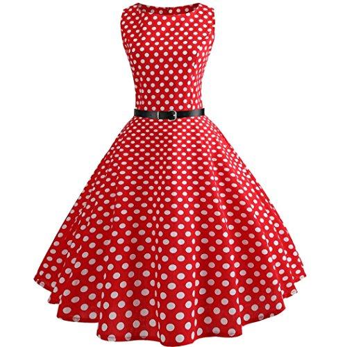 VEMOW Heißer Verkauf Elegante Damen Mädchen Frauen Vintage Bodycon Sleeveless Beiläufige Abendgesellschaft Tanz Prom Swing Plissee Retro Kleider(Rot 5, EU-36/CN-M)