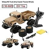 Bescita Militär RC Truck Armee 1:16 4WD verfolgt Räder Crawler Kettenrad Off-Road Auto RTR Spielzeug NEUZ (Schneerad + Vierrad) (Gelb)
