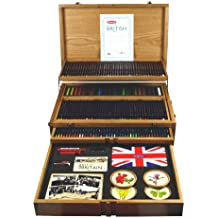 Derwent Best of British - Estuche de madera con lápices y accesorios, diseño de Reino Unido