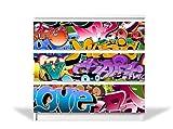 banjado YOURDEA MöbelFolie für IKEA Malm Kommode mit 3 Schubladen | Möbelaufkleber 3-teilig ca. 80x78cm | Möbelsticker Selbstklebend mit Motiv Graffiti