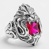Anwaz Herren Ringe aus 925 Sterling Silber, Löwe Heiratsantrag Ring Silberring mit Lila Edelstein - Silber Gr.63 (20.1)