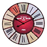 FineBuy Wanduhr XXL Ø 60 cm Galerie Küchenuhr Vintage-Look Bahnhofsuhr modern Römische Ziffern mehrfarbig stilvoll Wohndeko Design Wohnzimmeruhr Wanddekoration elegant Designuhr groß