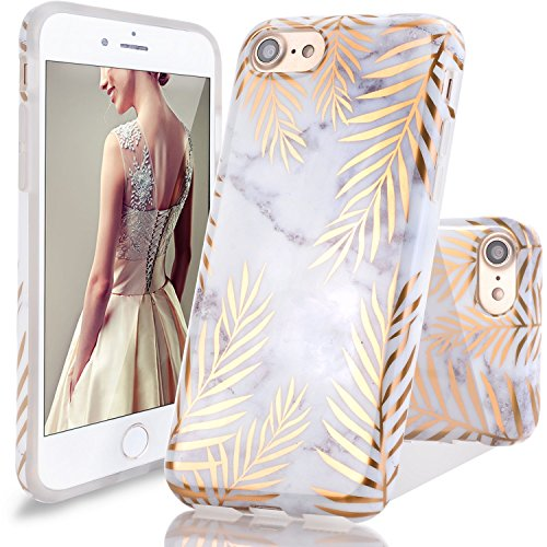 Coque iPhone 6 6S,DOUJIAZ Housse brillant de Protection, Ultra-Mince Glitter Paillette TPU Silicone Souple Coque Pour iPhone 6/6S (Série Marbre,Shiny Gold Metallic Leaves)