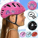 Physionics Kinderhelm für Jungen und Mädchen | Kopfumfang: ca. 52-56 cm, inkl. Einstellrad zur Anpassung, Schlagfest | Fahrradhelm, Kinderfahrradhelm, Fahrrad Radhelm, Helm Bike (Owlets)