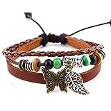 Morella pulsera de cuero trenzada con perlas abalorios y colgante mariposa
