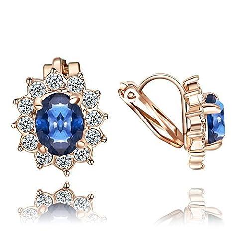 Yoursfs Boucles d'oreilles clips Fleur bleue 18k plaqué Or Solitaire en Saphir et Cristal Style Kate Middledon pour Femmes ou