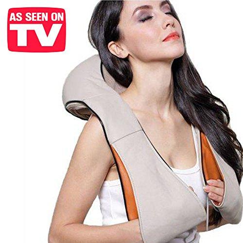 Exklusive 3d Massagegerät Nackenmassagegerät mit Wärmefunktion A Effekt distensivo–Massage mit Heizung Shiatsu für den Nacken, Schultern, Rücken Kissen Massage Heizmatte für Auto und Haus–4304