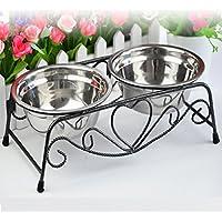 Doble del acero inoxidable del alimentador tazones para acero inoxidable para perros gato mascotas (plata)