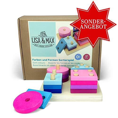 LISA & MAX Farben und Formen Sortierspiel - Buntes Motorikspielzeug für Kinder, Kleinkinder, Babys ab 0 Jahren