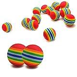 euhuton 15 STK Haustier Hunde Katze Spielbälle Weichschaum Regenbogen Spielzeuge Bälle für Hundewelpen-Kätzchen Zug und Spiel 3,5 cm Durchmesser